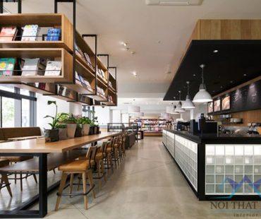 Thiết kế quán cafe sách đẹp rộng 120m2