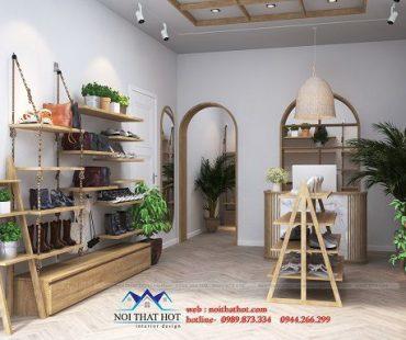 Thiết kế shop giày dép nữ Nhung Shoes phong cách vintage