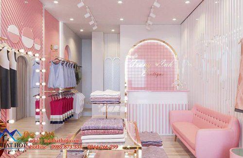 Thiết kế shop thời trang nữ màu hồng Hàn Quốc siêu đáng yêu